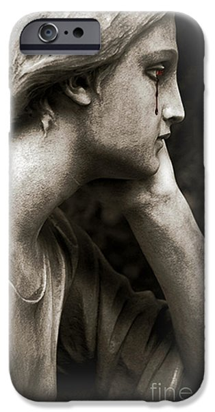 Gothic iPhone Cases - Gothic Surreal Fantasy Female Face - Mourning Female Cemetery Statue Crying Tears Of Blood  iPhone Case by Kathy Fornal