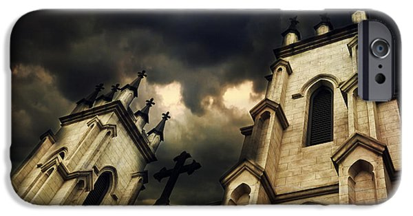 Eerie Photographs iPhone Cases - Gothic Surreal Haunting Church Steeple With Cross - Dark Gothic Church Black Spooky Midnight Sky iPhone Case by Kathy Fornal