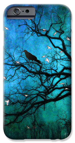 Gothic iPhone Cases - Gothic Surreal Nature Ravens Crow and Birds iPhone Case by Kathy Fornal