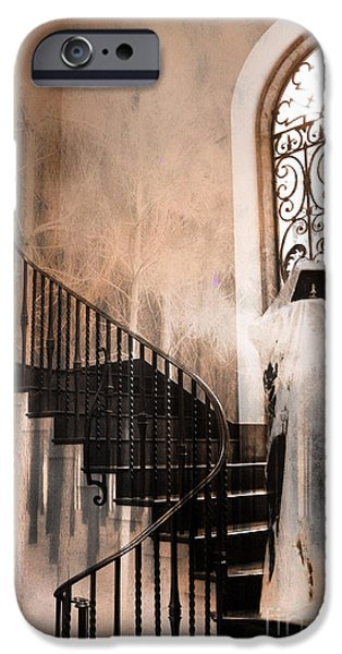 Gothic iPhone Cases - Gothic Surreal Spooky Grim Reaper On Steps iPhone Case by Kathy Fornal