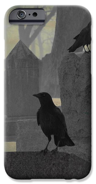 Snowy Day Digital Art iPhone Cases - Gothic Winter Blackbirds iPhone Case by Gothicolors Donna Snyder