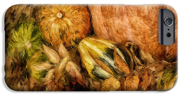 Thanksgiving Digital iPhone Cases - Gourds and Leaves Of Autumn iPhone Case by Lois Bryan