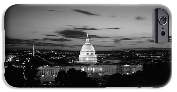 Horizon Over Land iPhone Cases - Government Building Lit Up At Night, Us iPhone Case by Panoramic Images