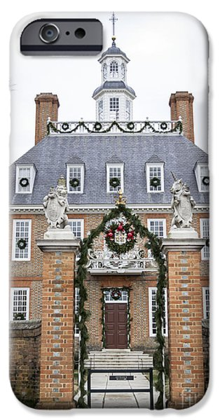 Historic Triangle iPhone Cases - Governors Palace with Gate iPhone Case by Teresa Mucha