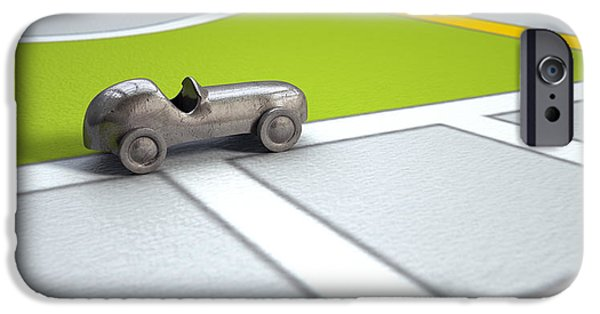 Concept Digital Art iPhone Cases - GPS Map With Metal Toy Car iPhone Case by Allan Swart
