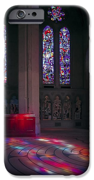 Meditative iPhone Cases - Grace Cathedral Walking Labyrinth - San Francisco iPhone Case by Daniel Hagerman