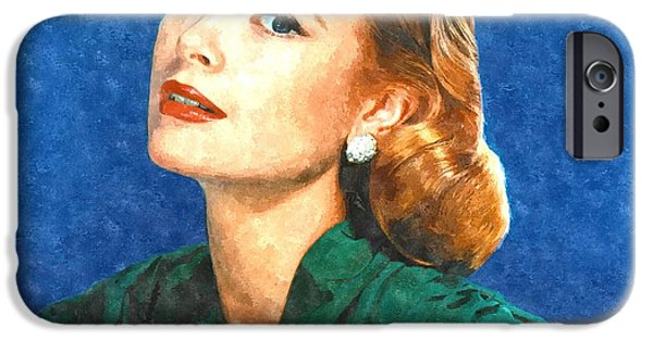 Brush Photographs iPhone Cases - Grace Kelly Painting iPhone Case by Gianfranco Weiss