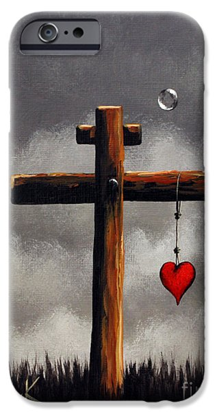The Wooden Cross Paintings iPhone Cases - Grace Lives Here by Shawna Erback iPhone Case by Shawna Erback