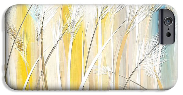 Brilliant Paintings iPhone Cases - Graceful Grasses iPhone Case by Lourry Legarde