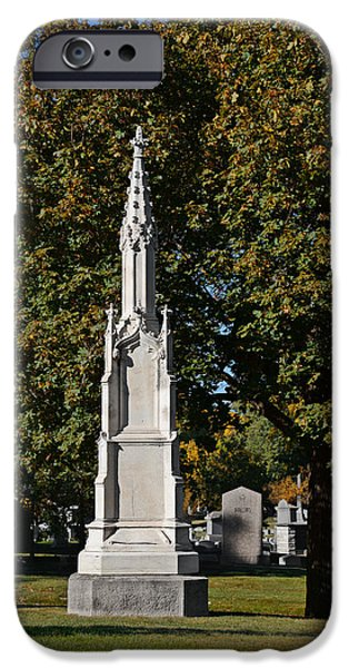 Headstones iPhone Cases - Graceland Cemetery - Garden of the dead iPhone Case by Christine Till