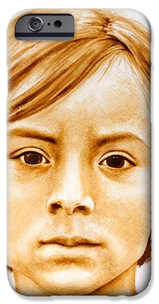Native American Spirit Portrait iPhone Cases - Gracie iPhone Case by Julee Nicklaus