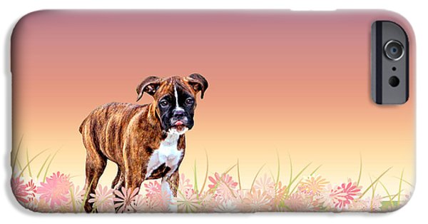 Boxer Digital Art iPhone Cases - Gracie Puppy Purple Wildflowers iPhone Case by Jamie Pflughoeft