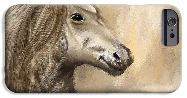 Kentucky Derby Paintings iPhone Cases - Gracious Wild- Cream And Brown Painting iPhone Case by Lourry Legarde