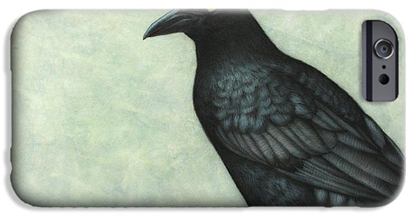 Animal Drawings iPhone Cases - Grackle iPhone Case by James W Johnson