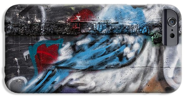 Spray Paint iPhone Cases - Graffiti Bluejay iPhone Case by Carol Leigh