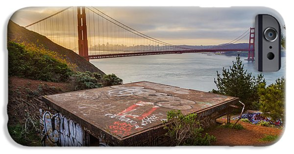 Golden Gate iPhone Cases - Graffiti by the Golden Gate Bridge iPhone Case by Sarit Sotangkur