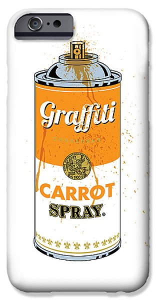 Spray iPhone Cases - Graffiti Carrot Spray Can iPhone Case by Gary Grayson