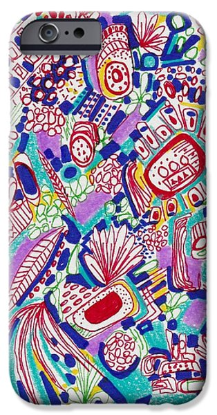Abstract Collage Drawings iPhone Cases - Graffiti Dance iPhone Case by Rosalina Bojadschijew