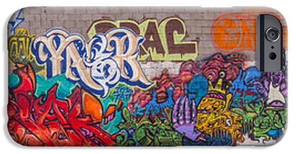 Graphic Design iPhone Cases - Graffiti Panorama iPhone Case by Jon Manjeot