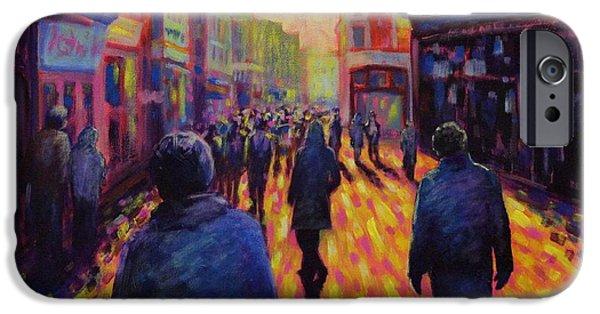 Night Scenes iPhone Cases - Grafton Street Dublin iPhone Case by John  Nolan