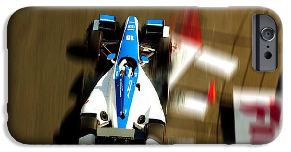 Indy Car On Canvas iPhone Cases - Graham Rahal Indy Racer iPhone Case by Denise Dube