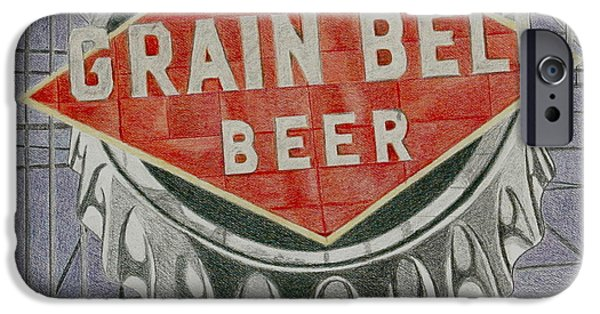 Signed Drawings iPhone Cases - Grain Belt Beer iPhone Case by Glenda Zuckerman