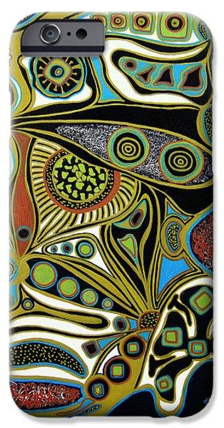 Blue Abstracts iPhone Cases - Grain de Folie.. iPhone Case by Jolanta Anna Karolska