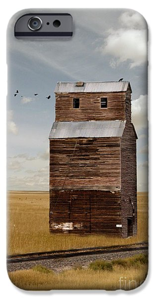Field. Cloud iPhone Cases - Grain Elevator by Railroad Tracks iPhone Case by Jill Battaglia