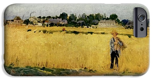 Berthe Paintings iPhone Cases - Grain Field iPhone Case by Celestial Images