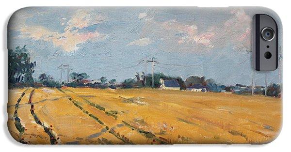 Village iPhone Cases - Grain Field iPhone Case by Ylli Haruni