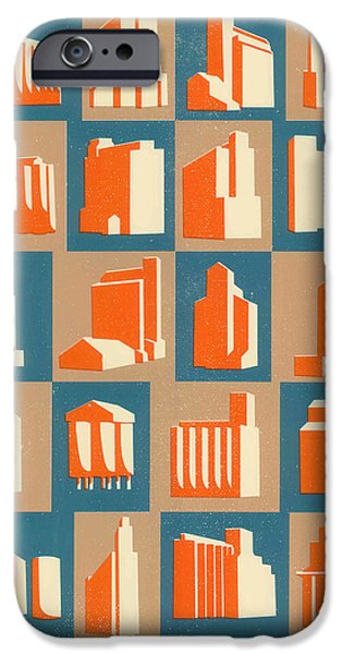 Built Structure Drawings iPhone Cases - Grain Silos iPhone Case by Eliza Southwood