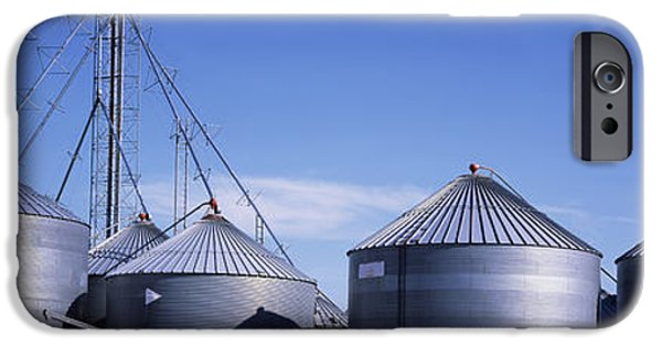 Nebraska iPhone Cases - Grain Storage Bins, Nebraska, Usa iPhone Case by Panoramic Images