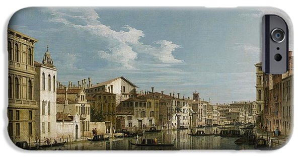 Thoroughfare iPhone Cases - Grand Canal from Palazzo Flangini to Palazzo Bembo iPhone Case by Canaletto