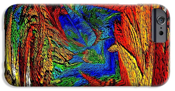 Arizonia iPhone Cases - Grand Canyon Abstract Art iPhone Case by Annie Zeno