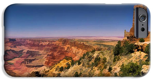 Grand Canyon iPhone Cases - Grand Canyon Desert View Watchtower Panorama iPhone Case by Christopher Arndt