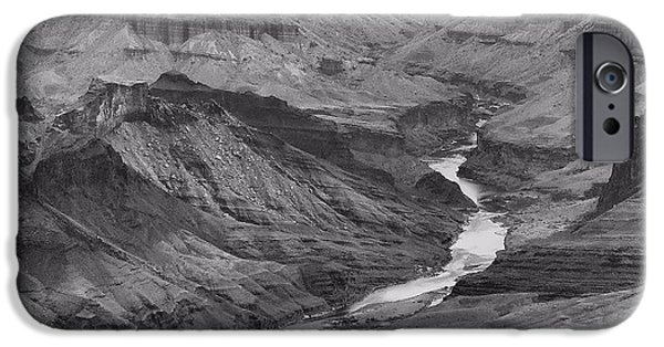 Grand Canyon iPhone Cases - Grand Canyon In Black And White iPhone Case by Dan Sproul