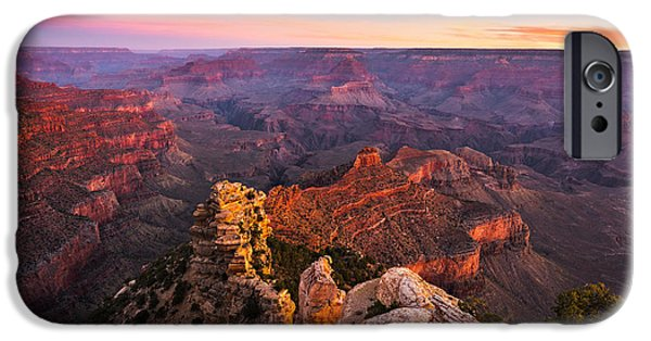 Grand Canyon iPhone Cases - Grand Canyon - Morning Glow iPhone Case by Adam Schallau