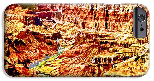 Grand Canyon Mixed Media iPhone Cases - Grand Canyon Navajo Painting iPhone Case by  Bob and Nadine Johnston