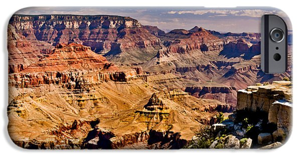 Grand Canyon Mixed Media iPhone Cases - Grand Canyon Painting iPhone Case by  Bob and Nadine Johnston