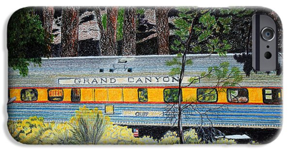 Grand Canyon Drawings iPhone Cases - Grand Canyon Rail Car Chief iPhone Case by Cathy Still