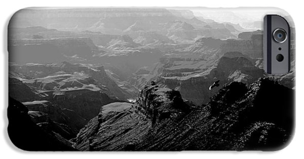 Freedom iPhone Cases - Grand Canyon Soaring Bird of Prey Conte Crayon Black and White iPhone Case by Shawn O