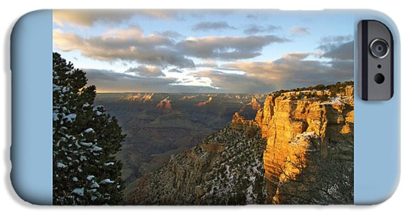Pines iPhone Cases - Grand Canyon. Winter Sunset iPhone Case by Ben and Raisa Gertsberg