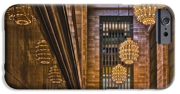 Railway Locomotive iPhone Cases - Grand Central Terminal Chandeliers iPhone Case by Susan Candelario