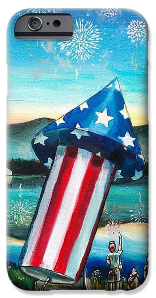 4th July Paintings iPhone Cases - Grand Finale iPhone Case by Shana Rowe