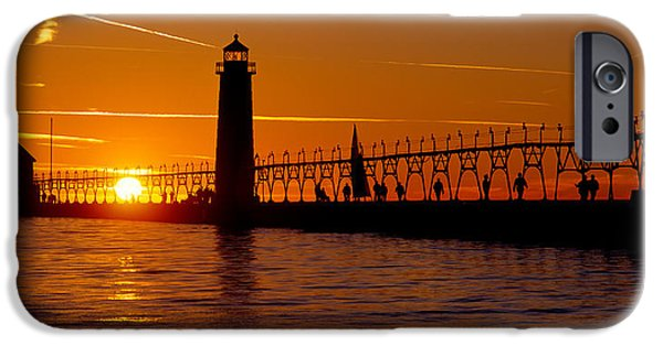 Built Structure iPhone Cases - Grand Haven Lighthouse At Sunset, Grand iPhone Case by Panoramic Images