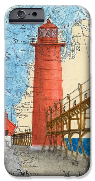 Chicago Paintings iPhone Cases - Grand Haven Lighthouse MI Nautical Chart Art Peek iPhone Case by Cathy Peek