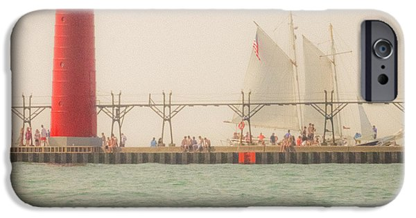 Sailboat Pyrography iPhone Cases - Grand Haven MI iPhone Case by Heather Dalimonte