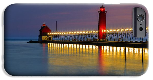 Recently Sold -  - Sailing iPhone Cases - Grand Haven South Pier Lighthouse iPhone Case by Jack R Perry