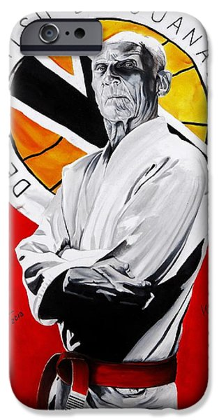 Brasil iPhone Cases - Grand Master Helio Gracie iPhone Case by Brian Broadway
