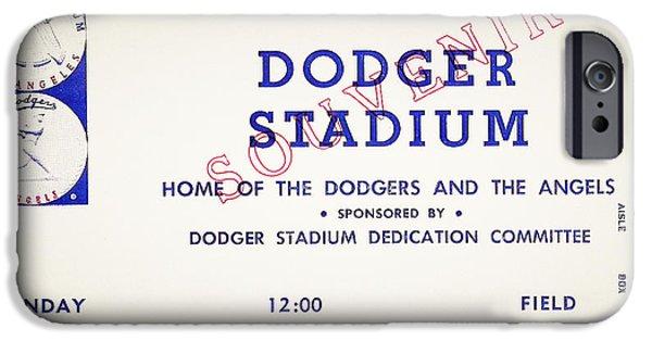 Baseball Stadiums Digital Art iPhone Cases - Grand Opening Dodger Stadium Ticket Stub 1962 iPhone Case by Digital Reproductions